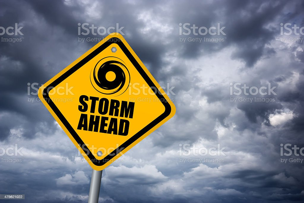 Storm ahead sign stock photo