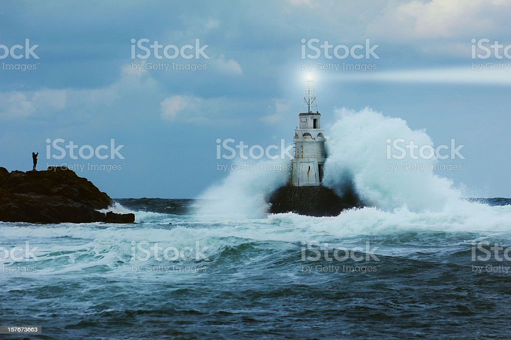 Storm and lighthouse royalty-free stock photo