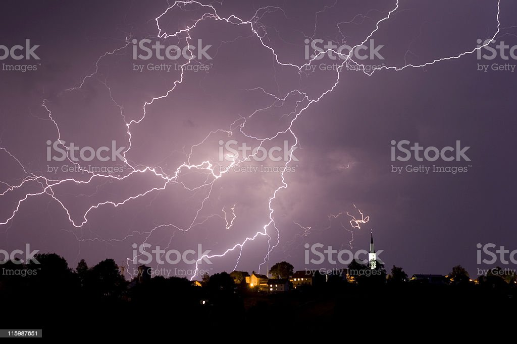 Storm and lightning over a little village royalty-free stock photo