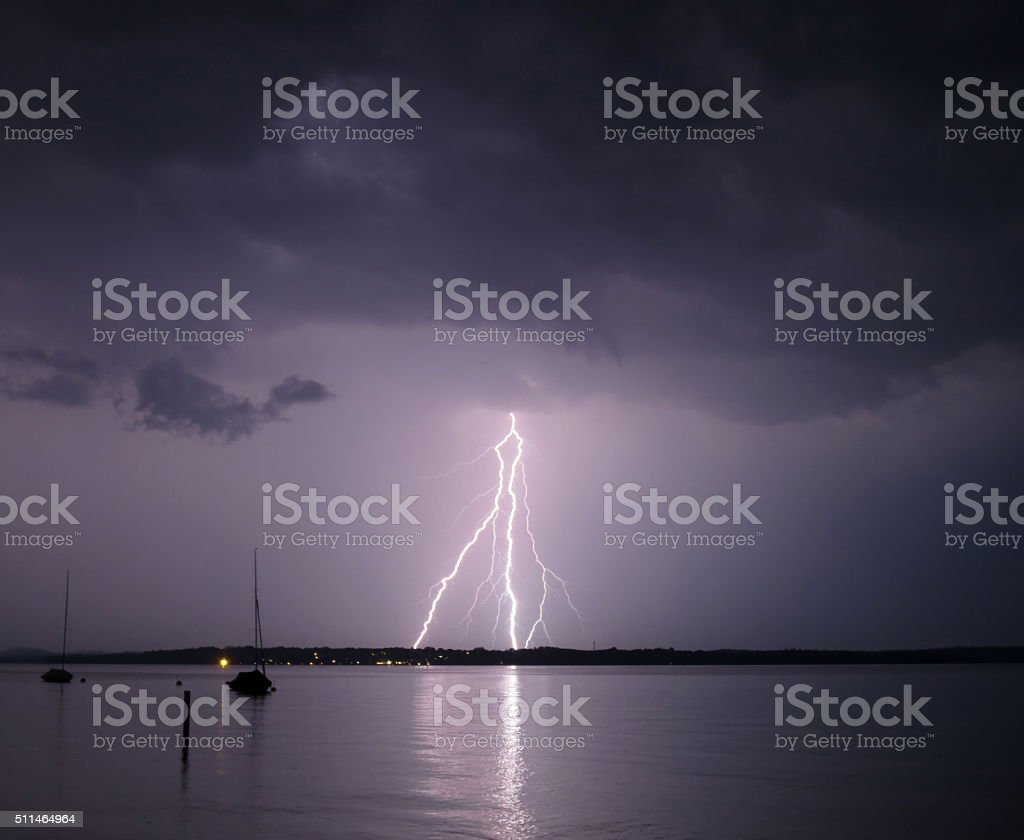Storm and lightning stock photo
