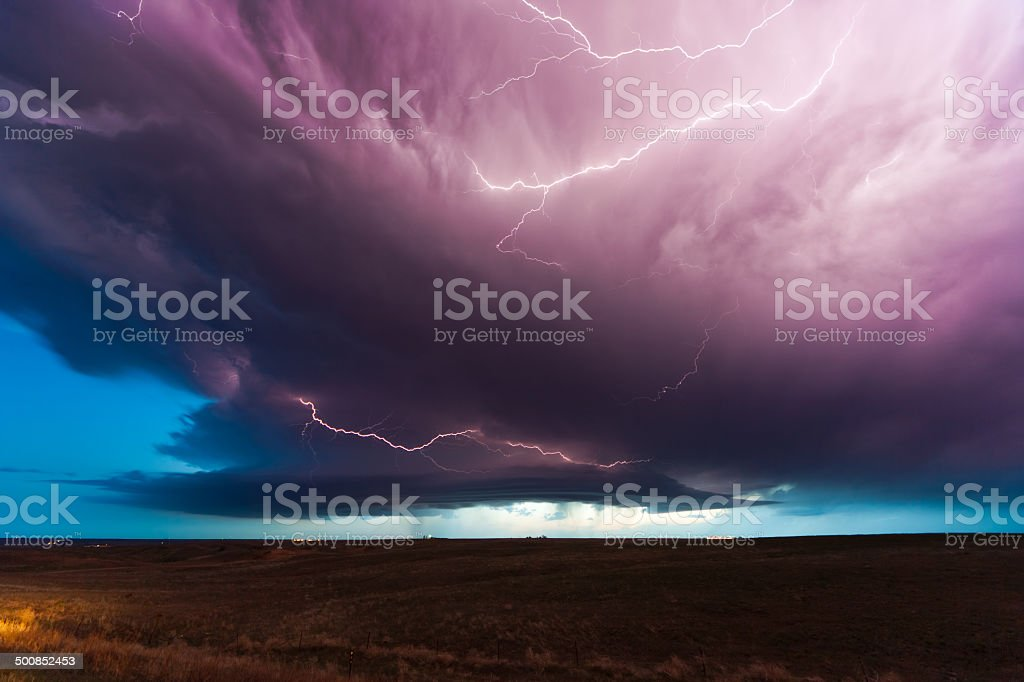 Storm and lightnings at dusk stock photo