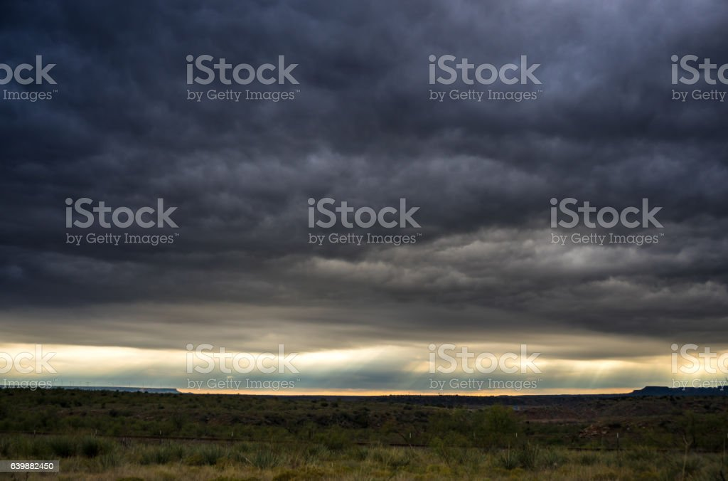 Storm and Sunbeams Crossing West Texas stock photo