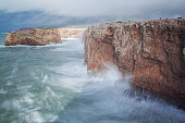 Storm and the waves on the shore Sagres, Sao Vicente.