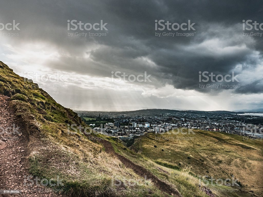 Storm Approaching Edinburgh stock photo
