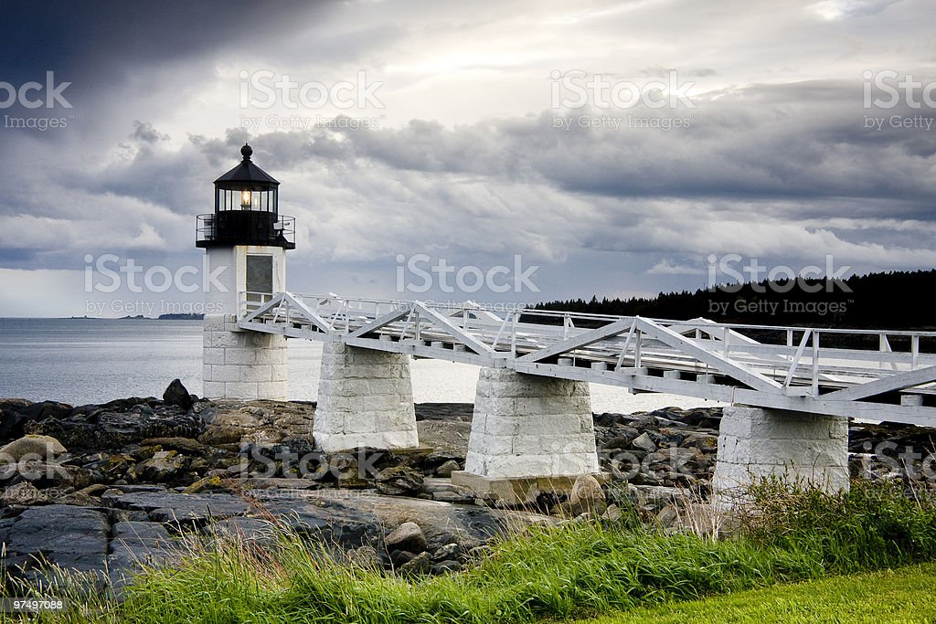 Storm approaching Marshall Point Lighthouse, Maine, USA stock photo