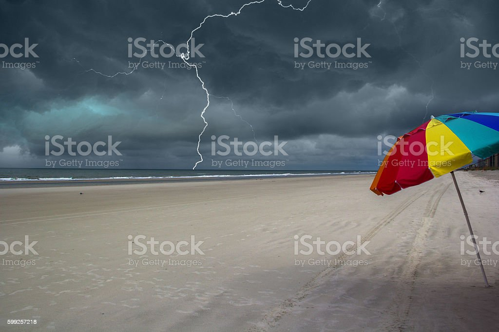 Storm approaching the beach stock photo