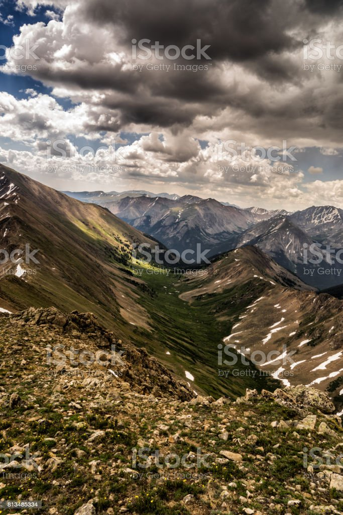 Storm approaching the Sawatch Range, Colorado Rocky Mountains stock photo