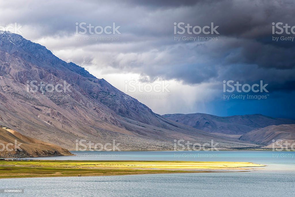 Storm approaching Tso Moriri lake in Ladakh, India stock photo