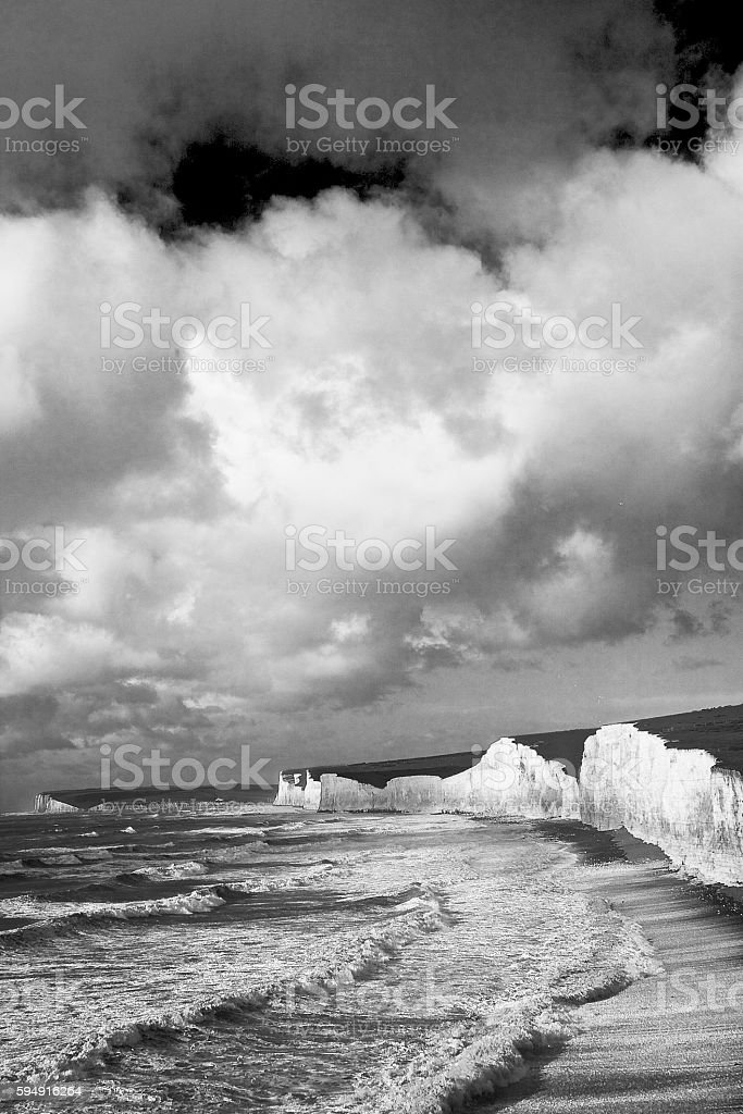 Storm at Birling Gap stock photo