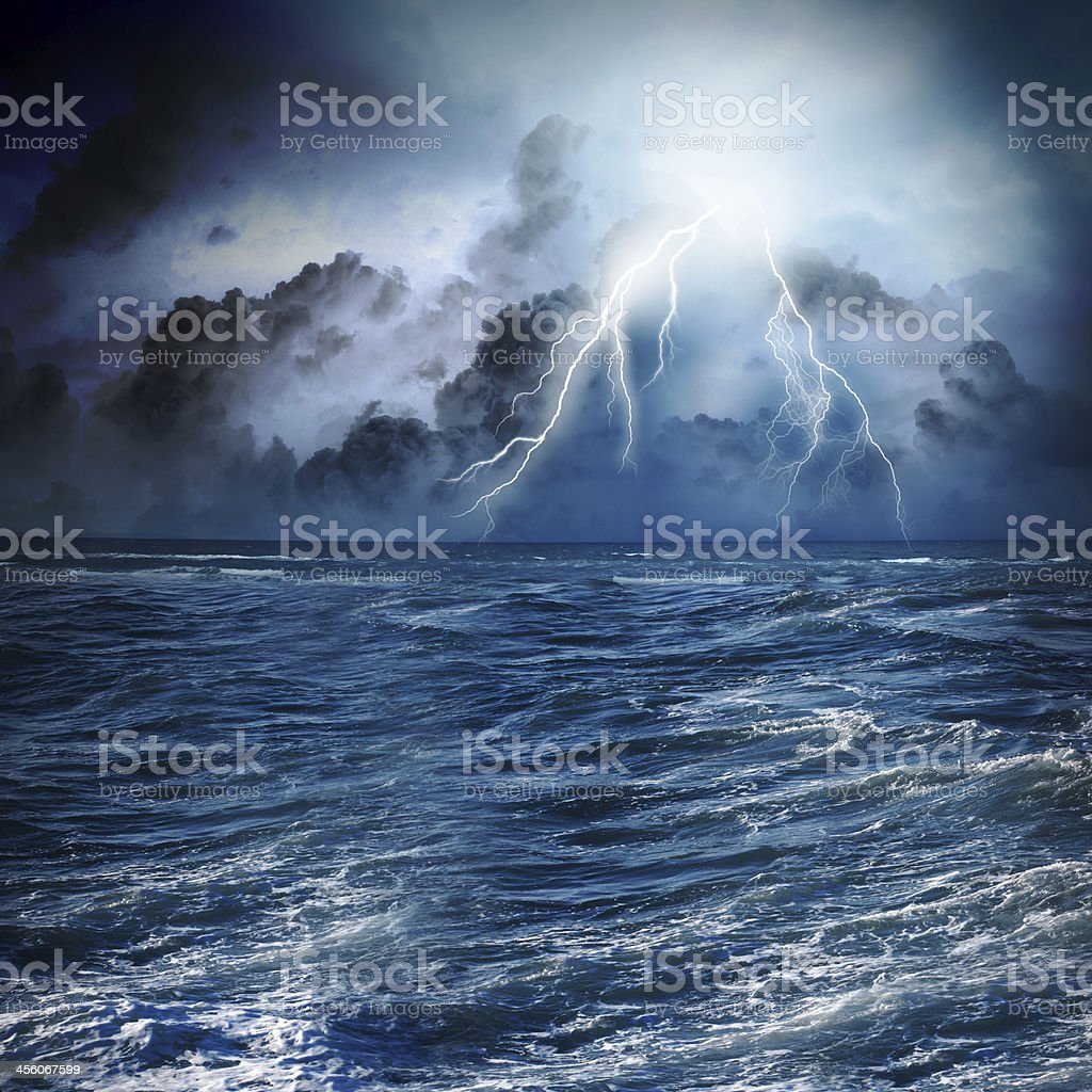 Storm at night stock photo