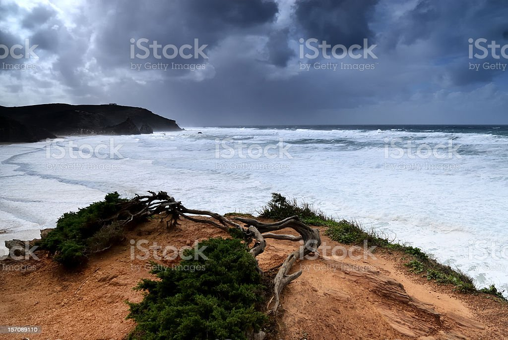 Storm at Praia do Amado stock photo