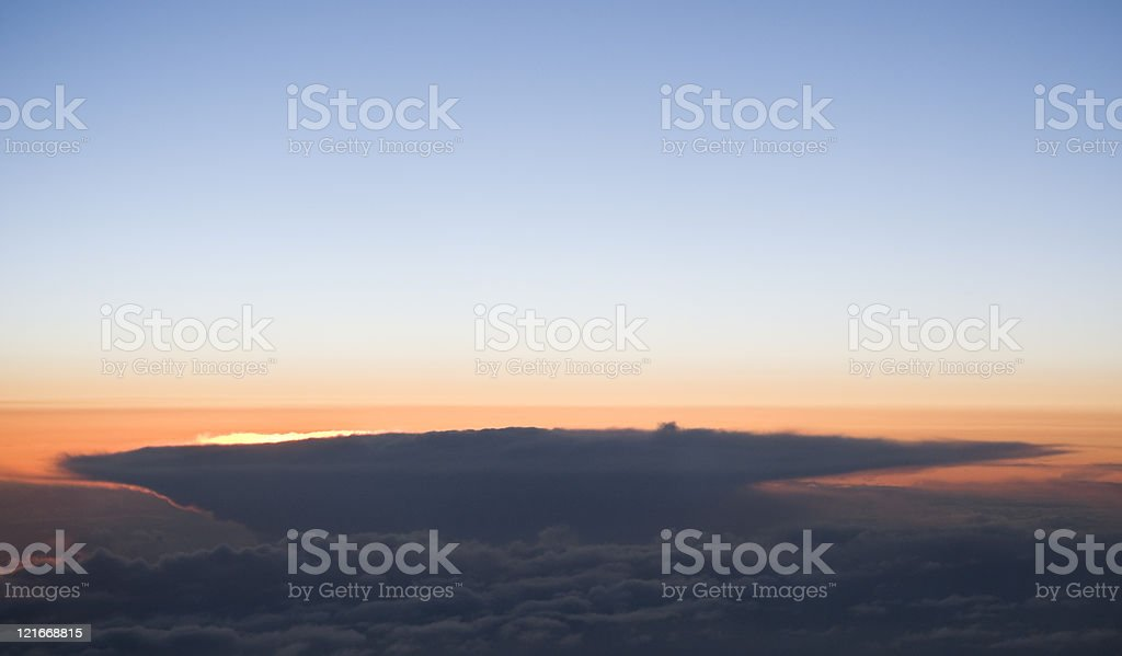 Storm at sunset, seen from airplane, copy space royalty-free stock photo