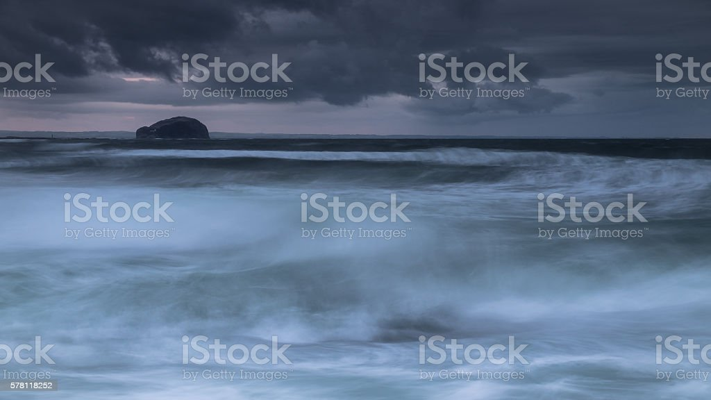 Storm at the Bass Rock stock photo