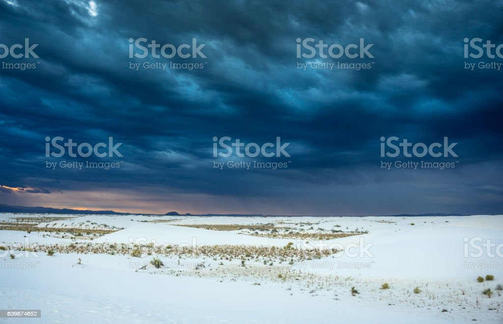 Storm at White Sands National Monument stock photo