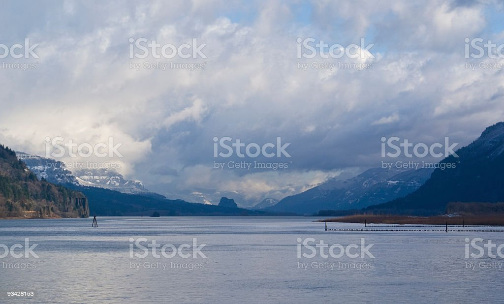 Storm Breaking In Columbia River Gorge royalty-free stock photo