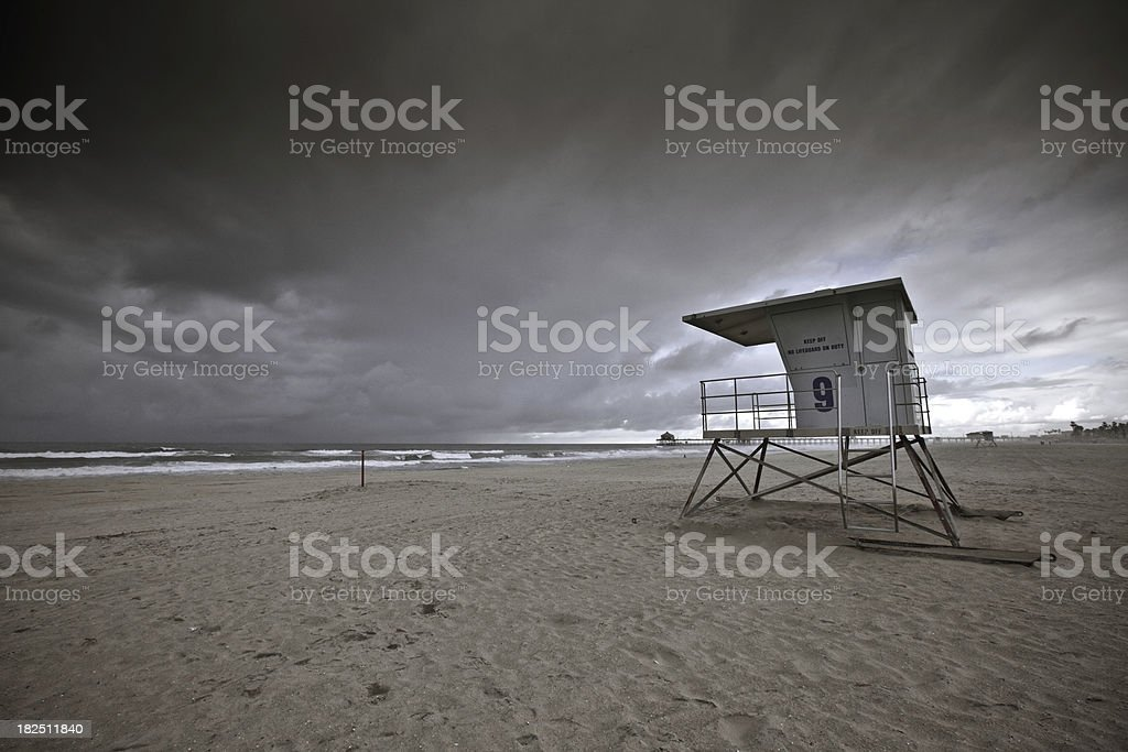 Storm brewing over Huntington Beach stock photo