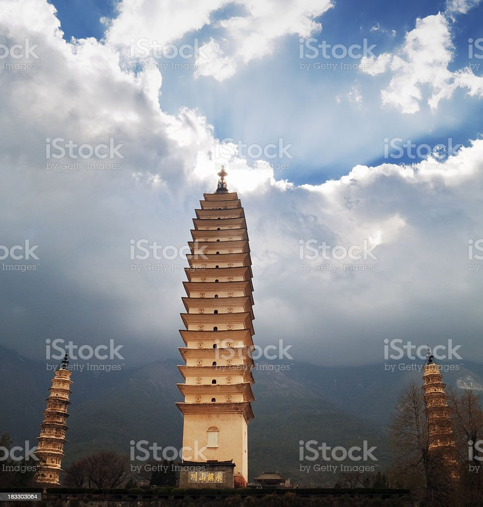 Storm Brewing Over the Three Pagodas stock photo