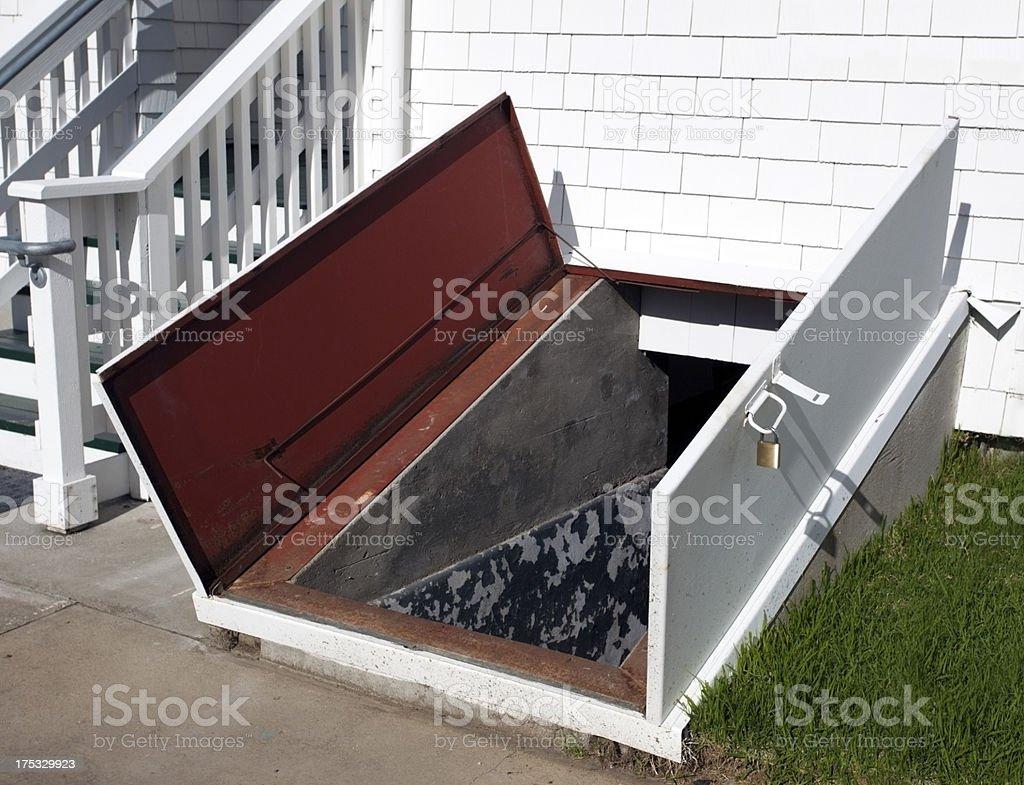 Storm Cellar Door stock photo