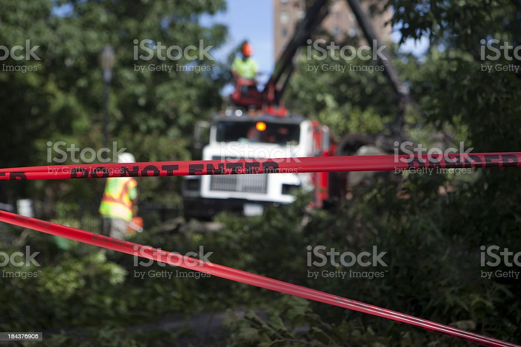 storm clean up stock photo