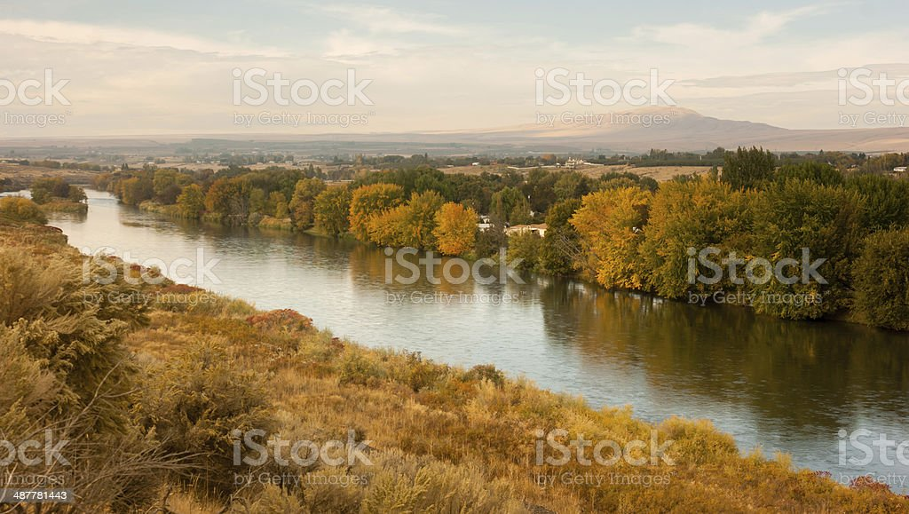 Storm Clearing Over Agricultural Land Yakima River Central Washington stock photo