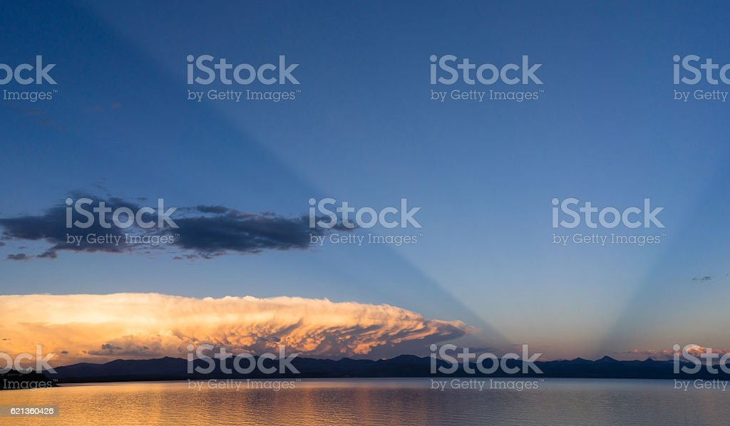 Storm Cloud Natural Searchlight Yellowstone Lake Absaroka Mountains stock photo