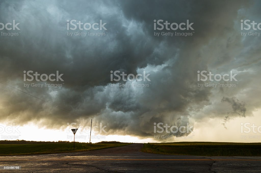 Storm Cloud Over Country Road stock photo