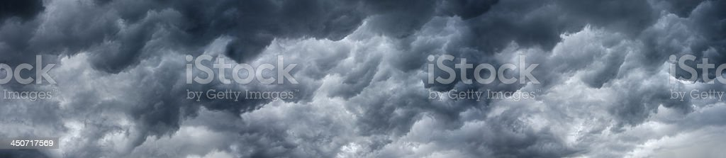 Wide angle, Panoramic view of dramatic storm clouds as a cold front...