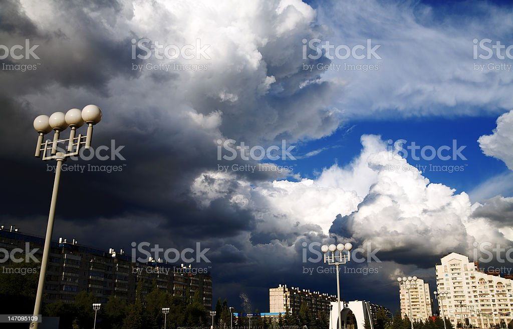 storm clouds above a cityscape royalty-free stock photo