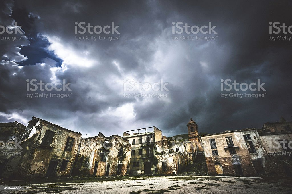 Storm clouds above abandoned town. stock photo