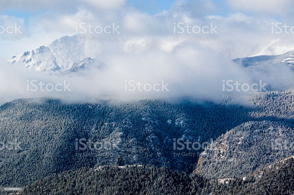 Storm Clouds and Fresh Snow on Pikes Peak stock photo