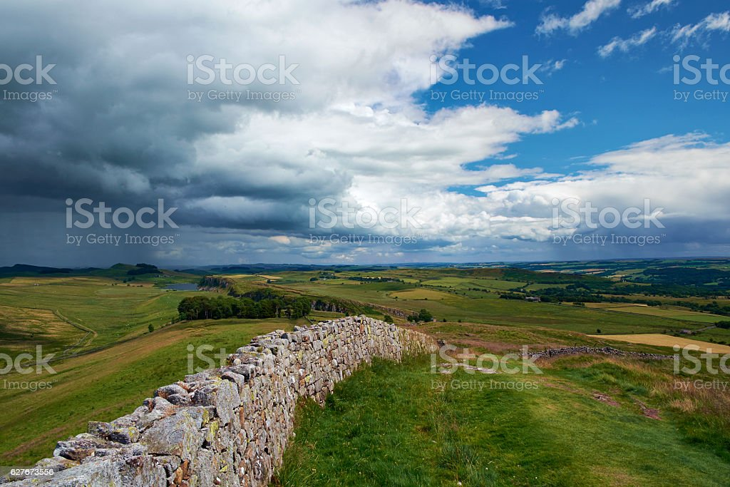 Storm Clouds Approaching Hadrian's Wall stock photo