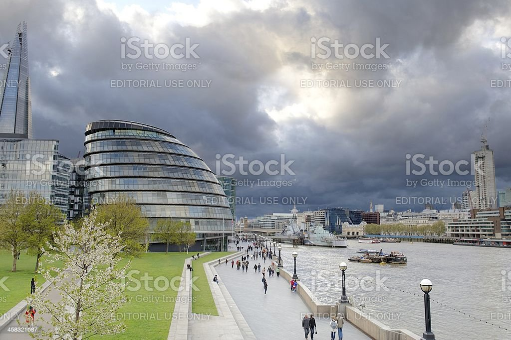 Storm clouds gather over City Hall, London, UK royalty-free stock photo