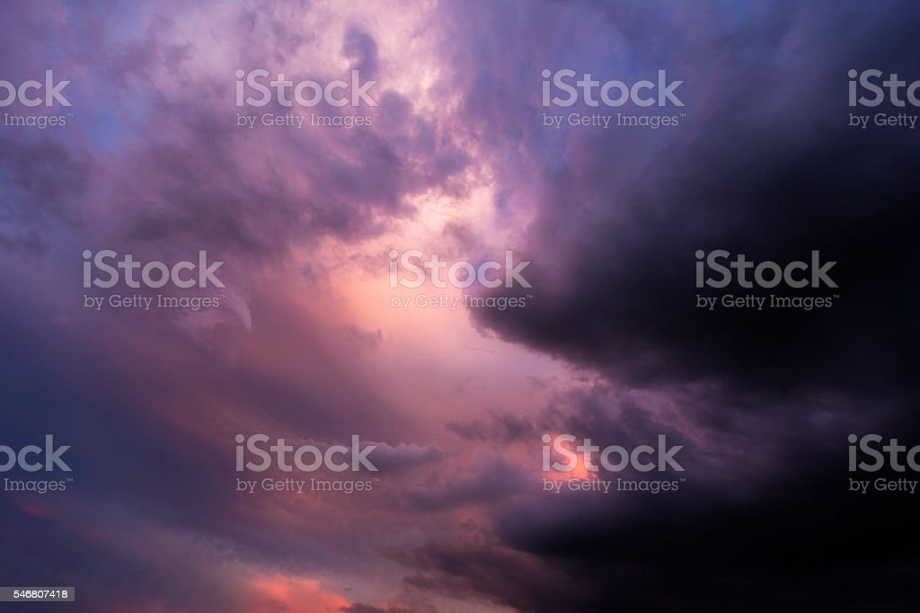 Storm Clouds in Pink and Blue stock photo