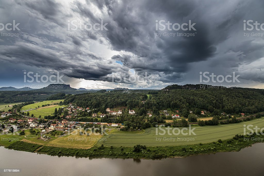 storm clouds in the Saxon Switzerland stock photo