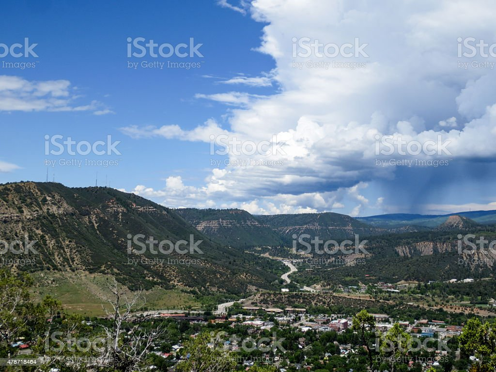 Storm clouds moving in on Durango in Colorado stock photo