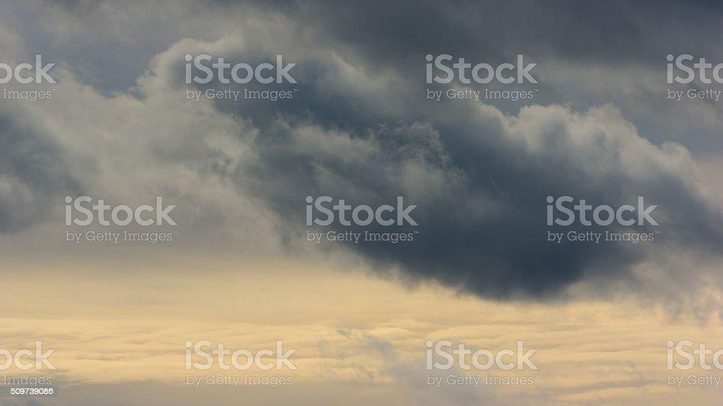 Storm clouds on dark sky stock photo
