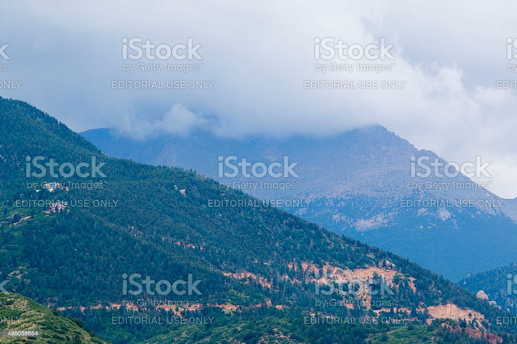 Storm Clouds on Pikes Peak Colorado stock photo