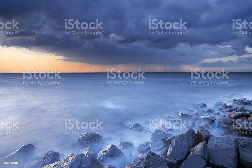 Storm clouds over a lake IJsselmeer, Flevoland, The Netherlnads royalty-free stock photo