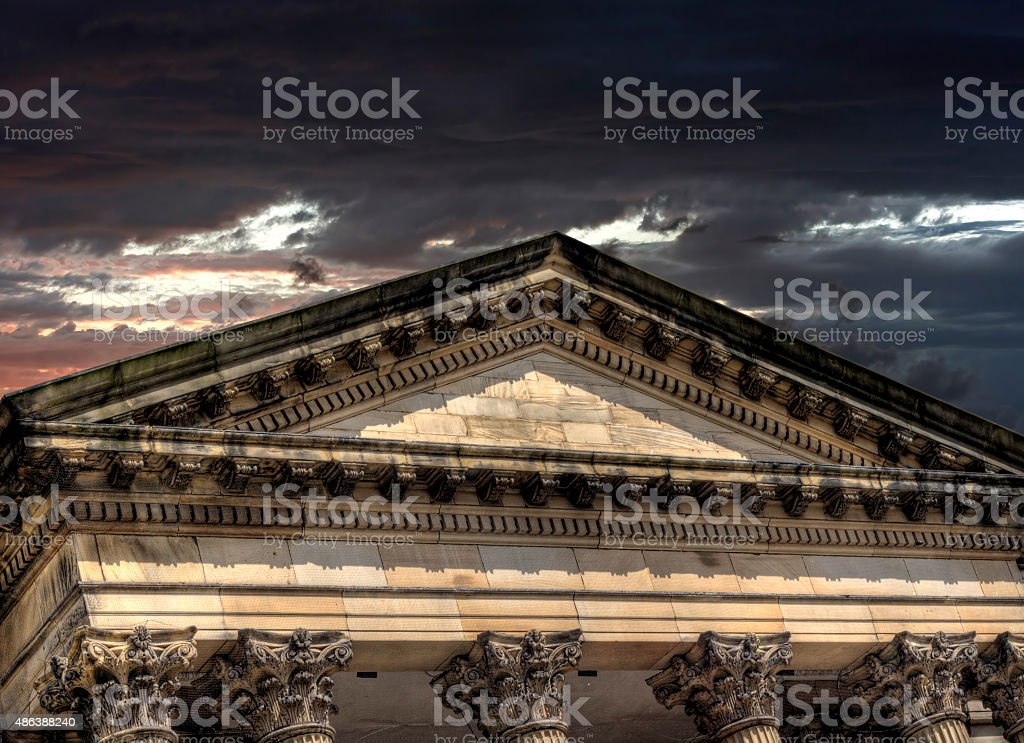 Storm clouds over bank stock photo
