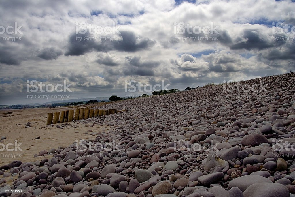 Storm clouds over beach stock photo
