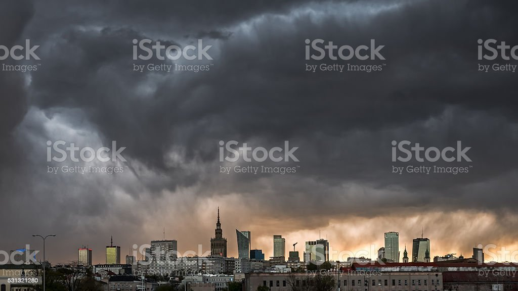 Storm clouds over center of Warsaw stock photo