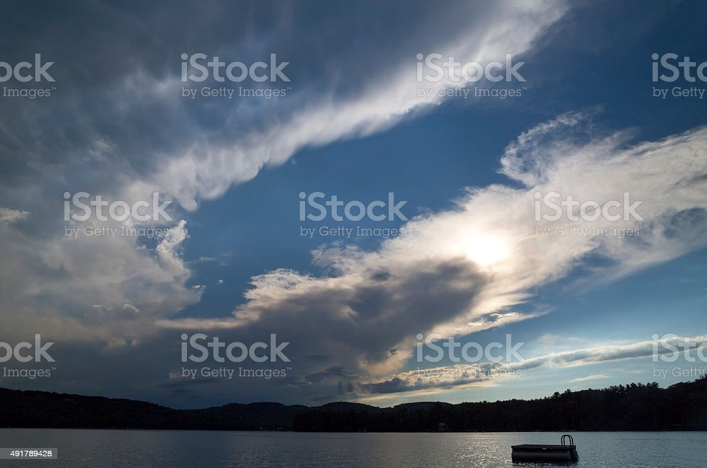 Storm Clouds over Lake stock photo