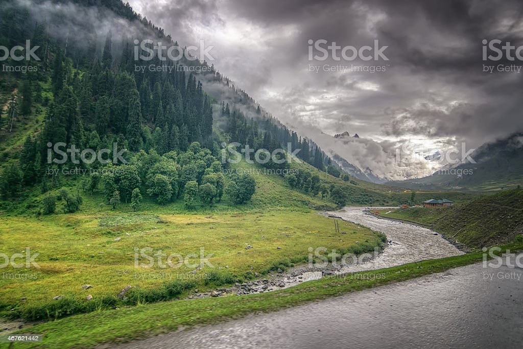 storm clouds over mountains of ladakh, Jammu and Kashmir, India stock photo