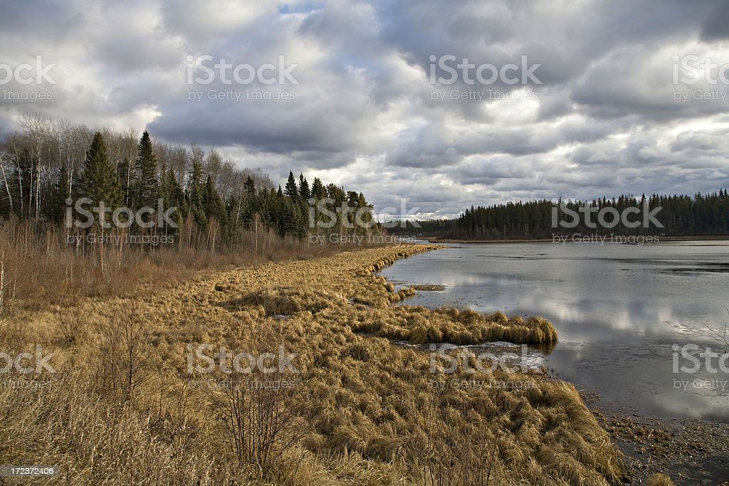 Storm Clouds Over Northern Wetland stock photo
