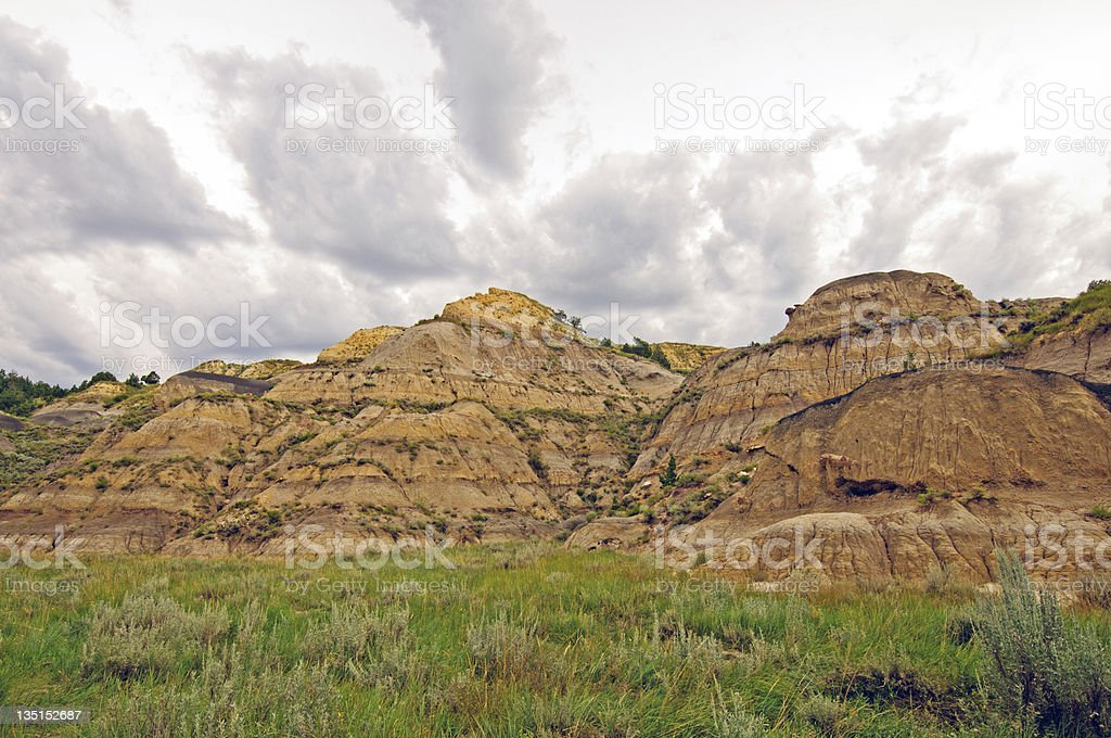 Storm clouds over the Badlands royalty-free stock photo