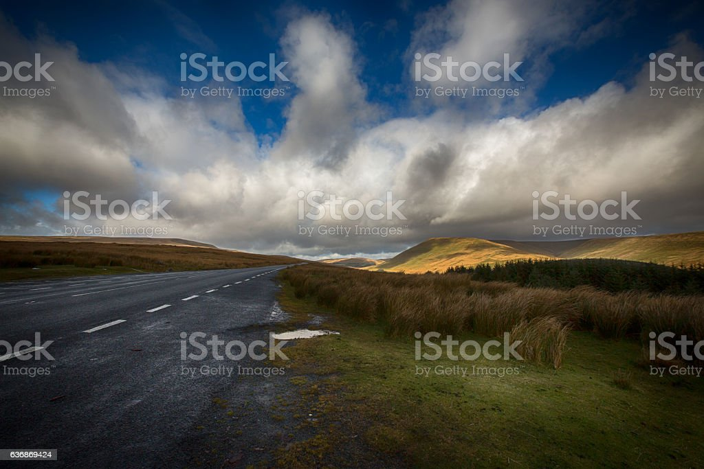 Storm clouds over the Brecon Beacons, Wales. stock photo