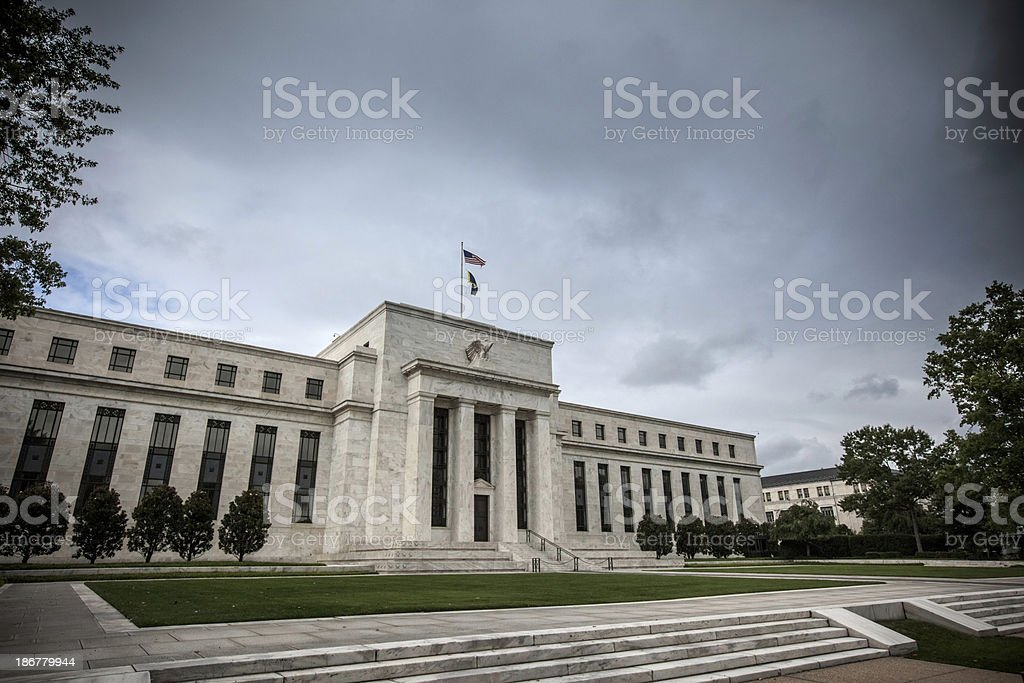 Storm clouds over the Federal Reserve stock photo