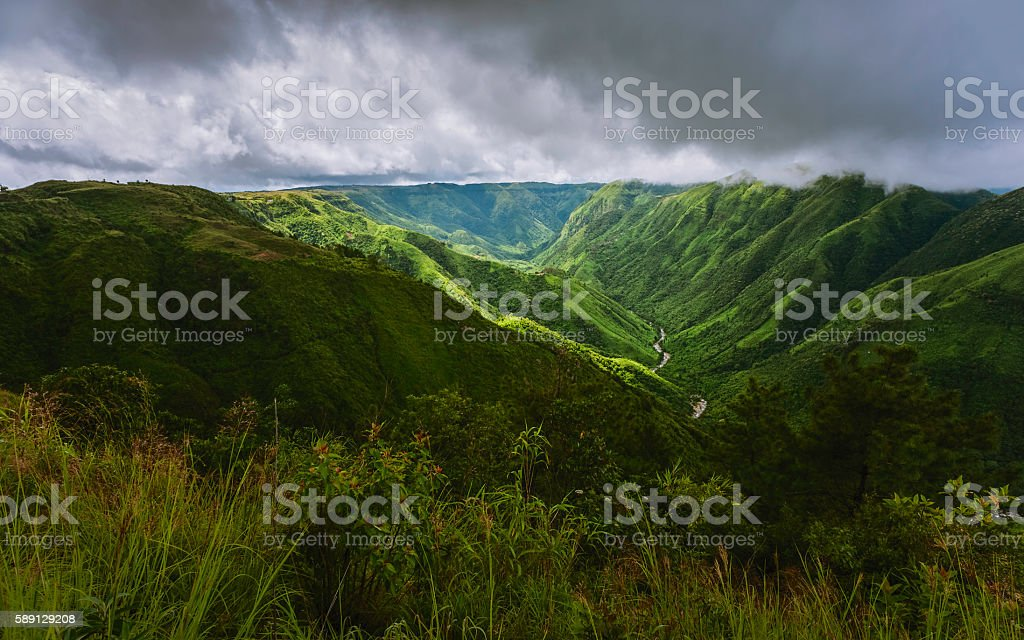 Storm clouds over the Khasi Hills, Meghalaya, India. stock photo