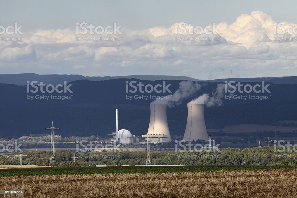 Storm clouds over the nuclear power plant Grohnde royalty-free stock photo