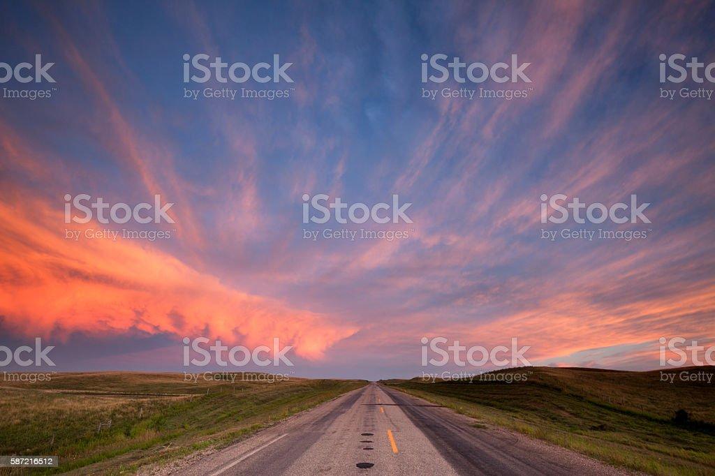 Storm Clouds Over The Prairies Saskatchewan stock photo